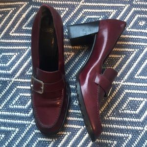 Coach Leather Heel Loafers in Deep Maroon